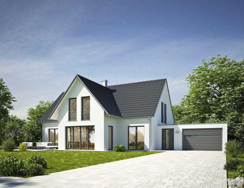 Hausbau Modern Standard weiß mit Garage bei Ingenieurbüro Markon in Engelsberg